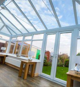 Inside glass conservatory